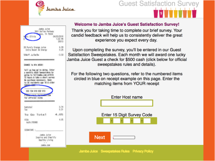 Tell Jamba Juice Customer Satisfaction Survey