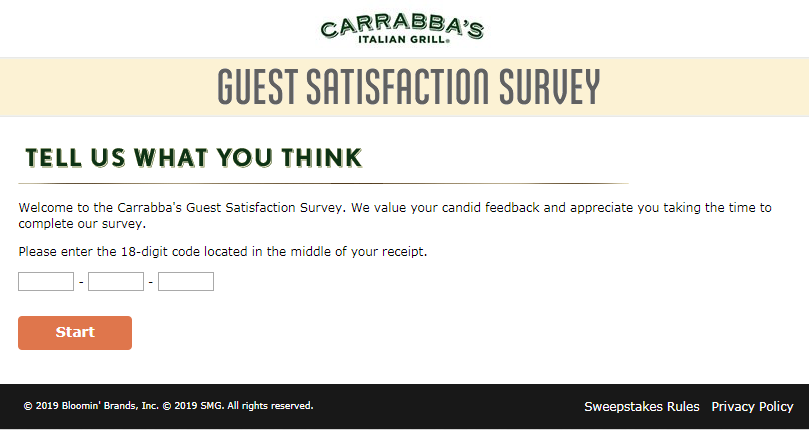 Tell Carrabba's Guest Satisfaction Survey 2020