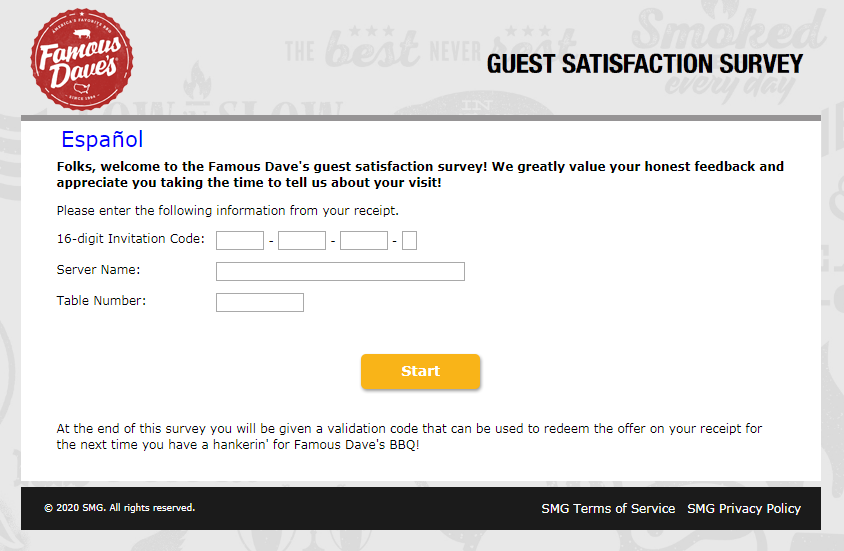 Famous Dave's Customer Satisfaction Survey