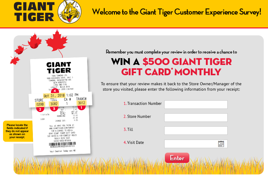 Giant Tiger Guest Feedback Survey