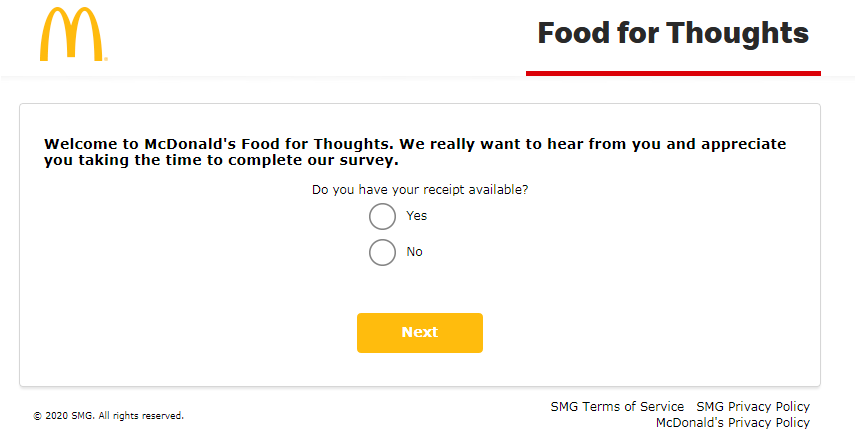 McDFoodForThoughts Guest Satisfaction Survey